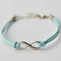 Silver Infinity Bracelet Charm Baby Blue/ Turquoise Wax Cord, Anniversary, Birthday Gift