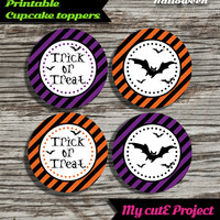 """30% OFF Trick or treat - Halloween Cupcake toppers - Instant Download - Party printable - Party favor - Candy Bar - 5 cm / 2"""" - Bat"""