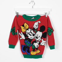 Vintage Kids Sweater Boys Girls Mickey Mouse Sweater 1990s Red Minnie Mouse Jumper Disney Ugly Christmas Sweater Xmas Sweater Holiday 4 5 6