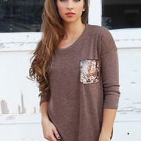 Sequin Pocket Knit {Taupe}