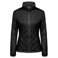 Women Casual Long Sleeve Solid Zip-up Quilted Lightweight Jacket Coats Outwear