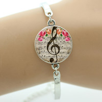 G-Clef Bracelet,Music Note Bangle,Glass Cabochon Dome Charm, Art Musical Note Picture silver brcelet  For Women Gifts GL018