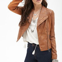 Faux Leather Jacket Camel