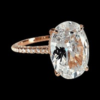Alexandra LaRosa 5CT Oval Petite French Pavé Crown Rose Gold IOBI Simulated Diamond 18K Rose Gold Plated Sterling Silver Ring for Women