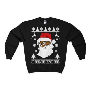 Ugly Christmas Sweater - Black Santa Clause Crewneck Sweatshirt