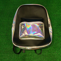 Holographic Black Leather Backpack Silver Hologram Rucksack School Travel Bag