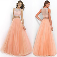 Beautifu Hot Long Orange Two Piece Prom Ball Dress LAVELIQ