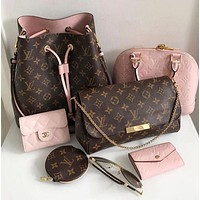 LV Louis Vuitton Popular Women Shopping Bag Leather Metal Chain Crossbody Satchel Shoulder Bag With Purse Wallet I/A