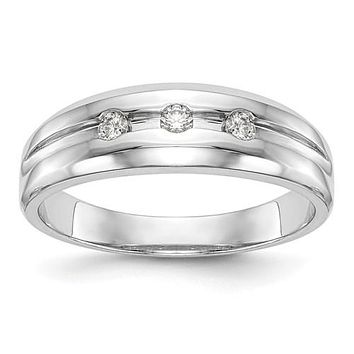 14K White Gold 3 Stone Diamond Men's Band