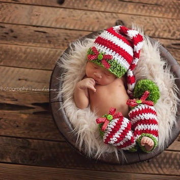 New baby clothing Knitting cap Handmade infant hat baby Knit crochet set long tail stripe Hat+Pants newborn photography props outfit 0-12month = 1958234116