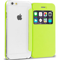 Neon Green Slim Hard Wallet Flip Case Cover Clear Back With Window for Apple iPhone 6 6S (4.7)