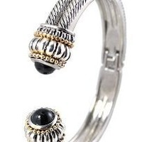 Silver Tone Vintage Style Cable Cuff Bracelet 2 Tone Caps with Black Crystals: Jewelry: Amazon.com