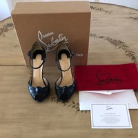 Christian Louboutin Marchavekel Knot Black Leather Sandal Pumps Size 39