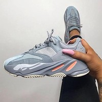 Hipgirls Adidas Yeezy 700 Boost Fashion New Sneakers Casual Running Reflective Dot Sport Shoes Grey