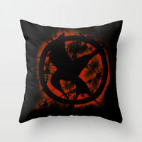 Mockingjay Hunger games Catching Fire Throw Pillow by Wolfei