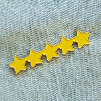 Five Gold Stars Enamel Pin