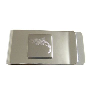 Silver Toned Etched Jumping Killer Whale Orca Money Clip