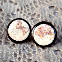 Map stud earrings, Vintage world map stud earrings, Globe Jewelry, Map jewelry, World map earrings, Whole Wide World, Antique World Map
