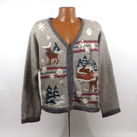 Ugly Christmas Sweater Vintage Cardigan  Holiday Tacky Party Women's size L