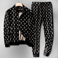 LV autumn and winter new zipper jacket jacket casual drawstring beam pants sportswear two-piece