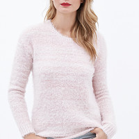 LOVE 21 Abstract Stripe Fuzzy Sweater Pink/Cream