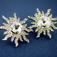 Womens Silver Plated Swarovski Crystal Sun Stud Earrings nickel free