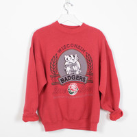 Vintage 90s Sweatshirt Red Gray Wisconsin Badgers 1990s Boyfriend Sweatshirt Athletic University of Wisconsin UW Jumper T Rose Bowl L Large