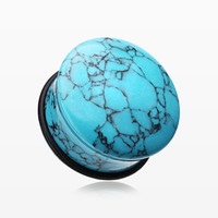 A Pair of Convex Turquoise Stone Single Flared Ear Gauge Plug