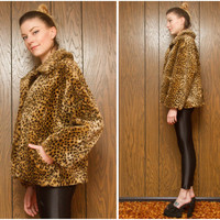 Vintage 80s 90s Kristen Blake Soft Leopard Cheetah Furry Fuzzy Faux Fur Button Up Brown Black Collar Oversized Lined Winter Coat Jacket S