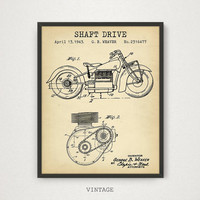 Indian Motorcycle Art, Motorcycle Shaft Drive Patent Printable, Motorbike Poster, Man Cave Decor, Bike Enthusiast Gifts, Motorcycle Print