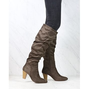Sassy Scrunched Tall Knee High Boots - More Colors