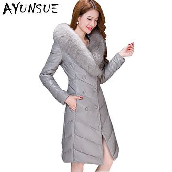 Winter Leather Jackets For Women Faux Sheep Skin Leather Jacket Artificial Fox Fur Collar White Duck Down Jacket Plus Size HJ366