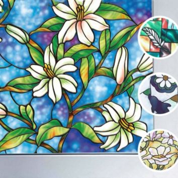Stained Glass Window Film Static Privacy Films Cling Cover Decor 0.9M X 1M