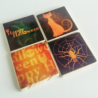 Ready to Ship! Halloween Coasters- Natural Stone Tile - Happy Halloween - Set of 4