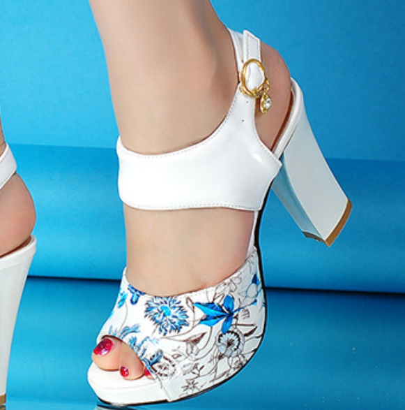 Image of Hot style sells high - heeled fish mouth sandals shoes