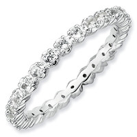 Prong Set White Topaz Eternity Stackable Ring