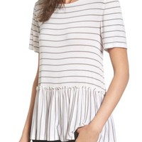 BP. Remix Stripe Peplum Top | Nordstrom
