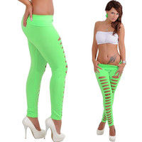 Candy Color Ripped Skinny Leggings