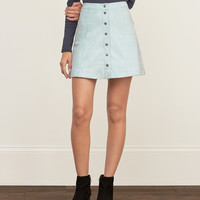 Faux Suede A-line Skirt