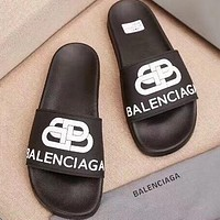 Balenciaga Fashion Women Print Word Double BB Slippers Flat Shoes Black