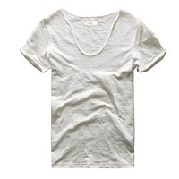 Zecmos Men V Neck Slim Fit 100 Cotton T-Shirt Basic T Shirts Casual