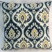 "Indigo Blue and Gold Medallion Pillow, Ogee  Floral on Beige Cotton, 17"" Square,  Cover Only or Insert Included"