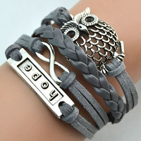 Infinity Owl Charm Handmade Leather Bracelet Cuff Bangle Chain = 1931791300