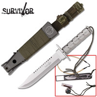 Medium Survival Knife with All Silver Finish