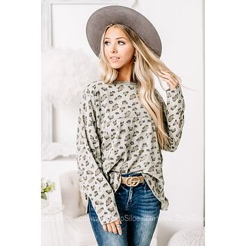 Stay True To Yourself Sage Cheetah Printed Top