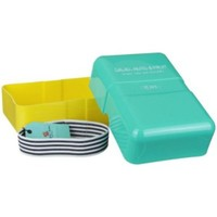 Happy Jackson Salad Nuts Teal and Yellow Hard Plastic Rectangular Lunch Box