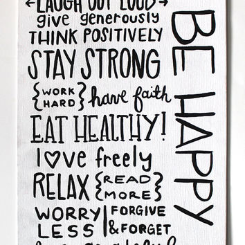 Key to Happiness Quote Canvas, Inspirational Quote Canvas, Be Happy Quote