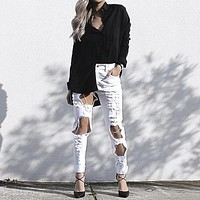 Women Fashion Personality Hollow Irregular Ripped Worn Jeans Pencil Pants Trousers
