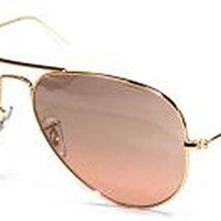 Ray-Ban Aviator Large Metal Light Mirrored Sunglasses, GOLD FRAME / CRYSTAL BROWN-PINK SILVER MIRROR LENS, 58 mm
