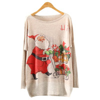 Batwing Long Sleeve Santa Claus Print Knit Sweater (Color: Beige) = 1946858564